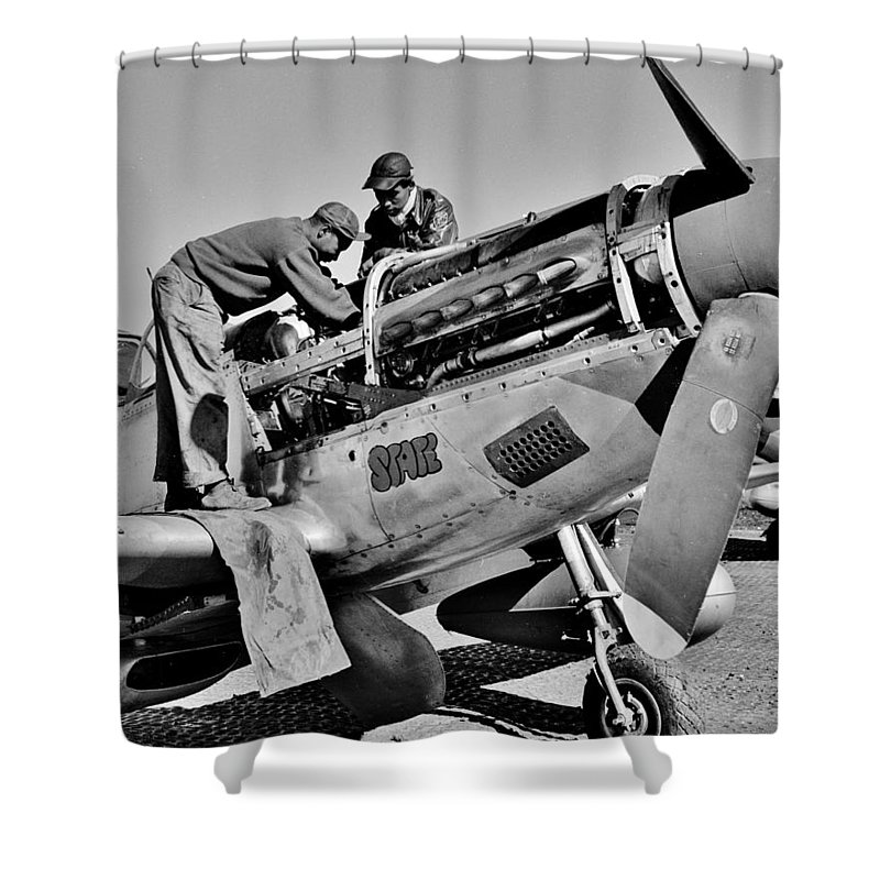 Tuskegee Shower Curtain featuring the photograph Tuskegee Mechanics by Benjamin Yeager