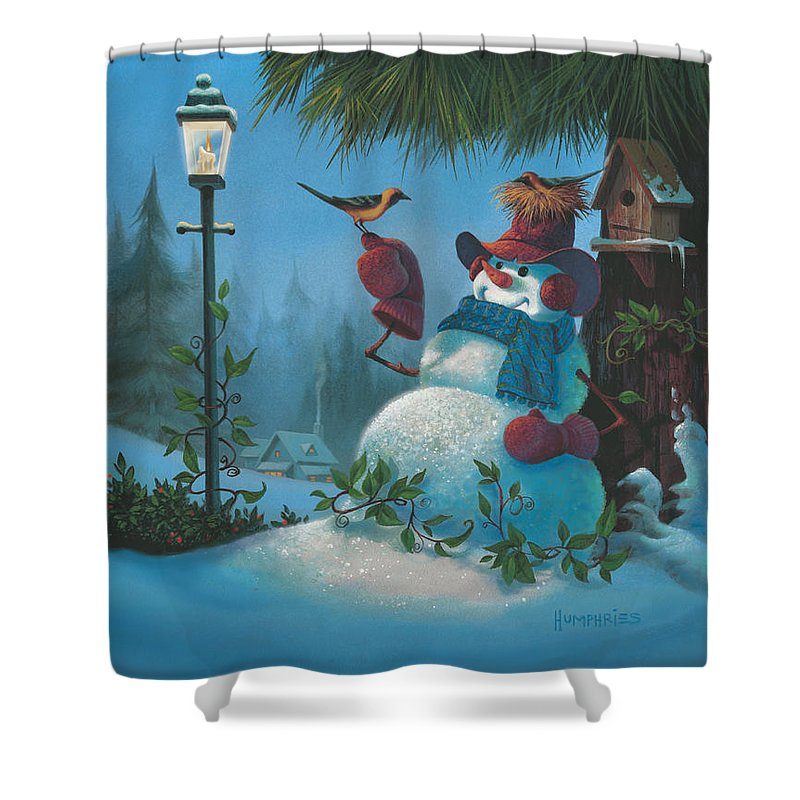 Michael Humphries Shower Curtain featuring the painting Tweet Dreams by Michael Humphries