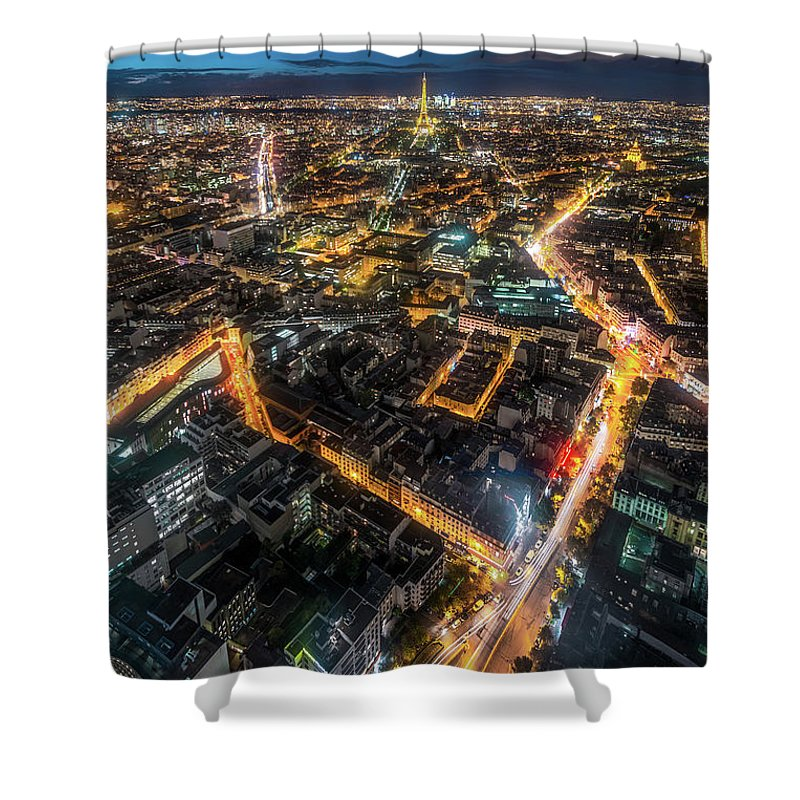 Tranquility Shower Curtain featuring the photograph Twilight City View Of Paris by Coolbiere Photograph