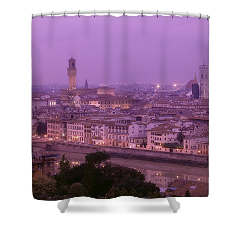 Photography Shower Curtain featuring the photograph Twilight, Florence, Italy by Panoramic Images