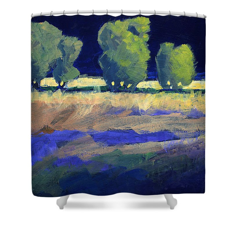 Trees Shower Curtain featuring the painting Twilight Landscape by Nancy Merkle