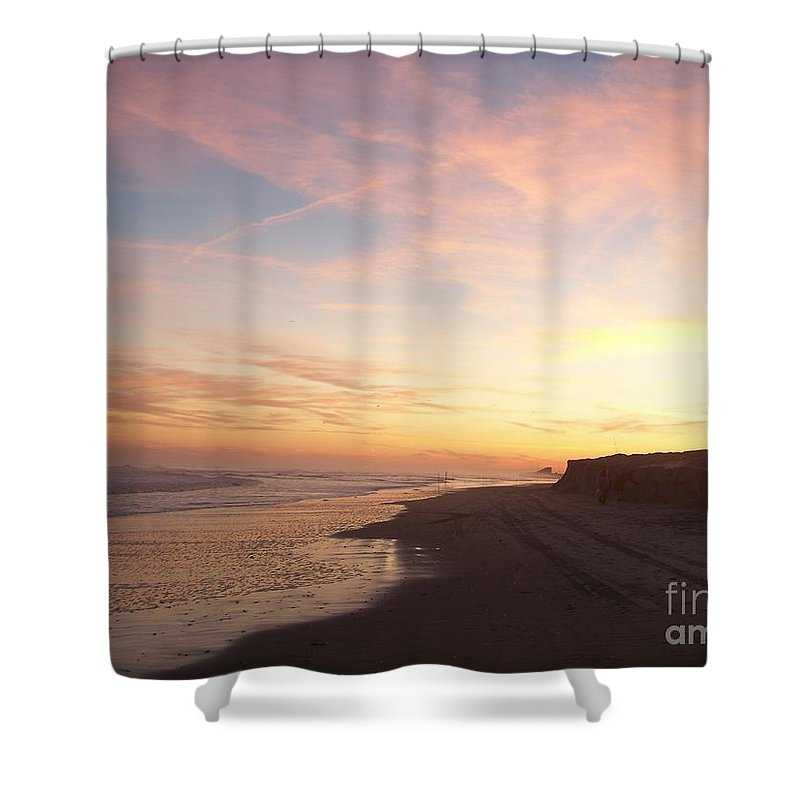 Twilight Shower Curtain featuring the photograph Twilight Near Pier by Eric Schiabor