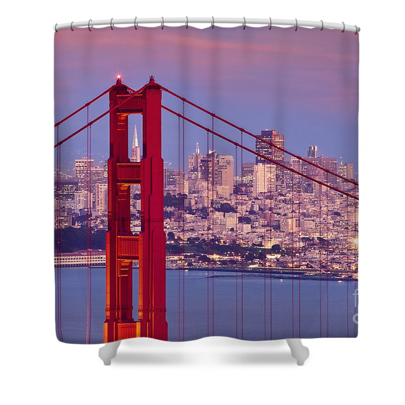Golden Gate Shower Curtain featuring the photograph Twilight Over San Francisco by Brian Jannsen