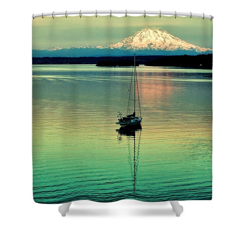 Gig Harbor Shower Curtain featuring the photograph Twilight Sail by Benjamin Yeager