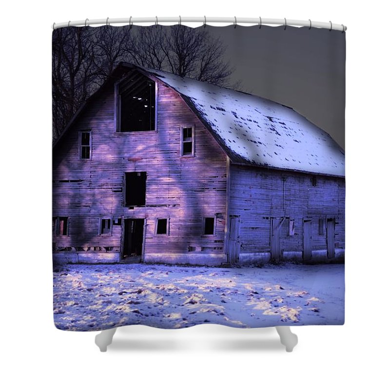 Barn Shower Curtain featuring the photograph Twilight Snow Barn by Bonfire Photography