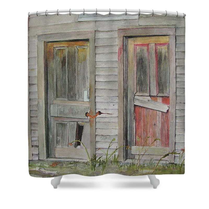 Farm Buildings Shower Curtain featuring the painting Twin Doors by Mary Ellen Mueller Legault