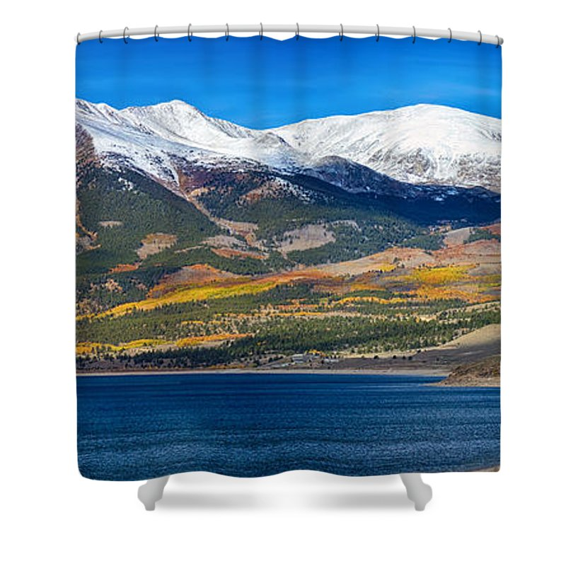 Snow Shower Curtain featuring the photograph Twin Lakes Colorado Autumn Panorama by James BO Insogna