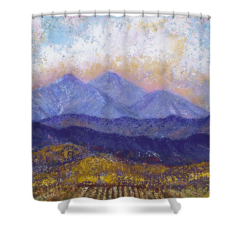 Landscape Shower Curtain featuring the painting Twin Peaks Above The Fruited Plain by Margaret Bobb