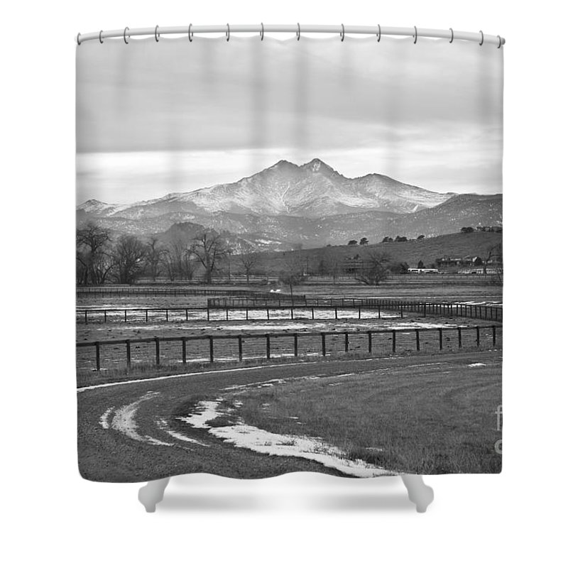 Twin Peaks Shower Curtain featuring the photograph Twin Peaks Mt Meeker And Longs Peak Bw Country by James BO Insogna
