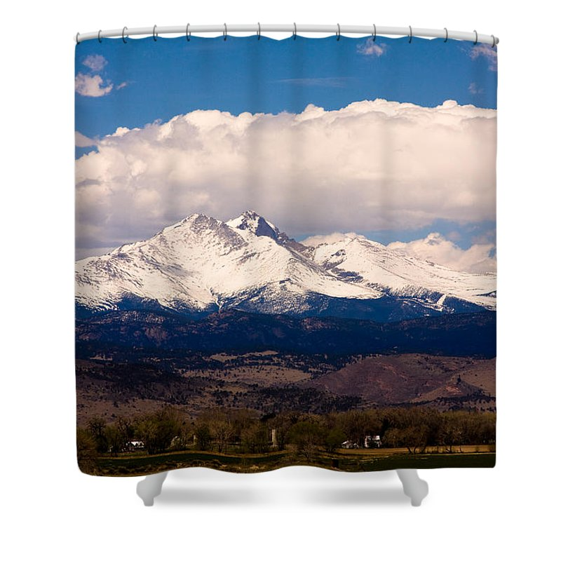 Twin Peeks Shower Curtain featuring the photograph Twin Peaks Snow Covered by James BO Insogna