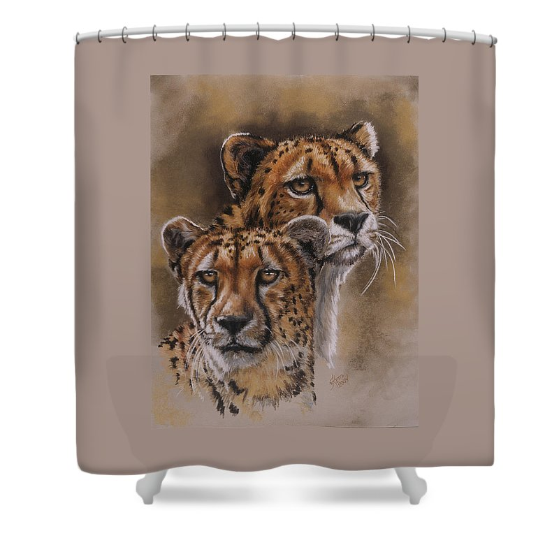 Cheetah Shower Curtain featuring the pastel Twins by Barbara Keith