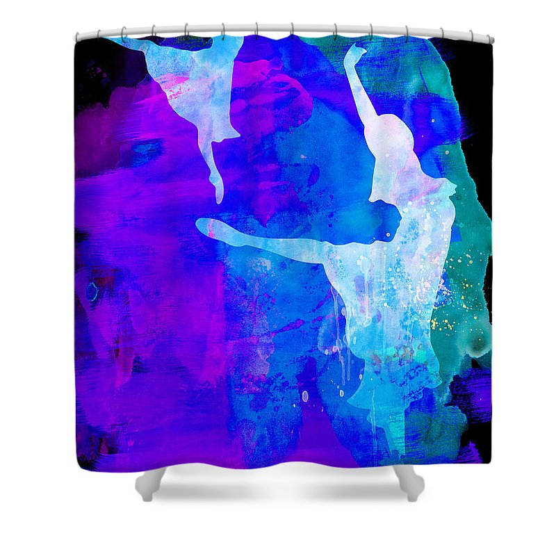 Ballet Shower Curtain featuring the painting Two Ballerinas Watercolor 3 by Naxart Studio