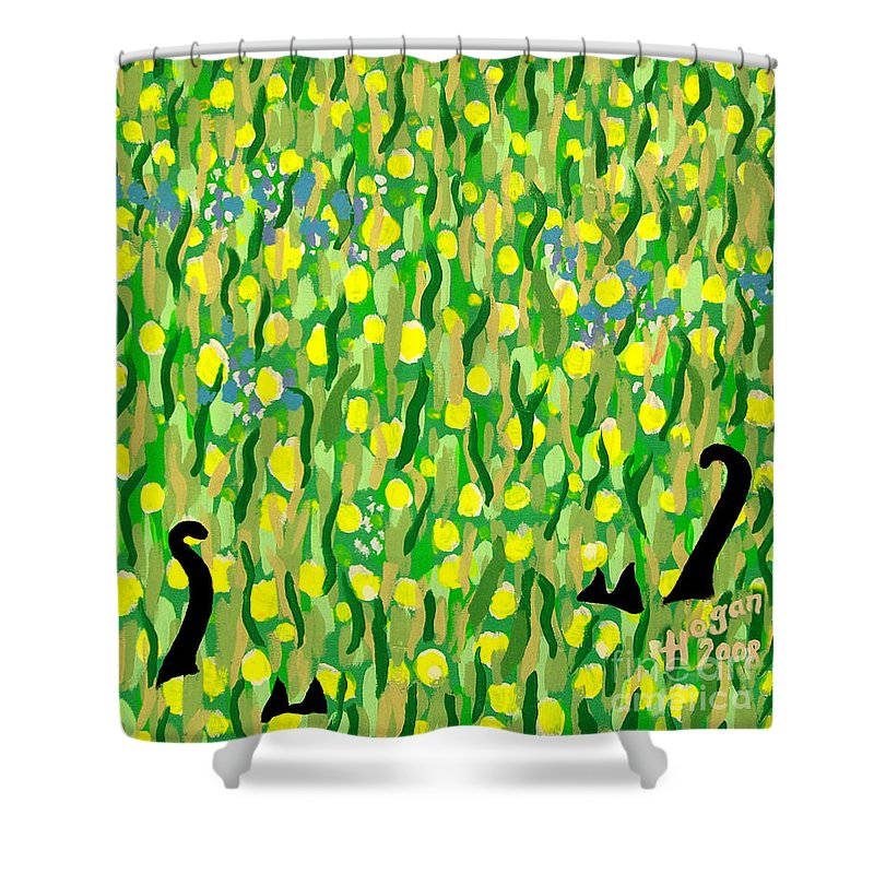 Flowers Shower Curtain featuring the painting Two Black Cats by Alan Hogan