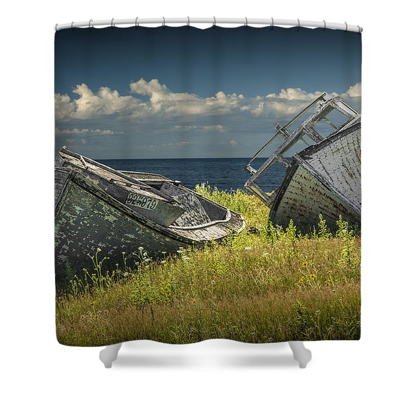 Boat Shower Curtain featuring the photograph Two Forlorn Abandoned Boats On Prince Edward Island by Randall Nyhof