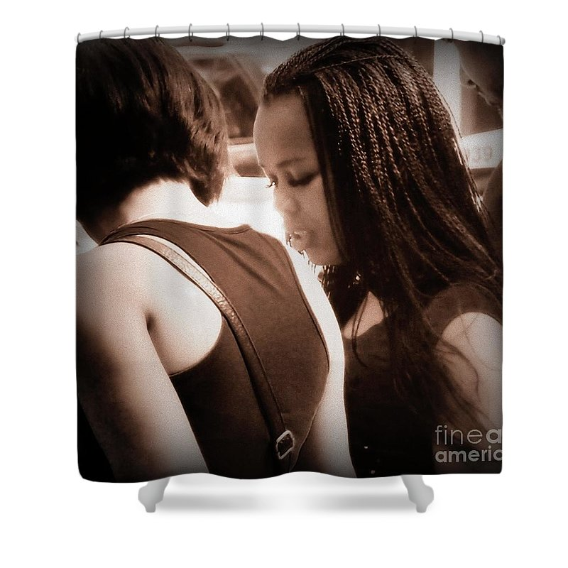 Portrait Shower Curtain featuring the photograph Two Girls by Miriam Danar
