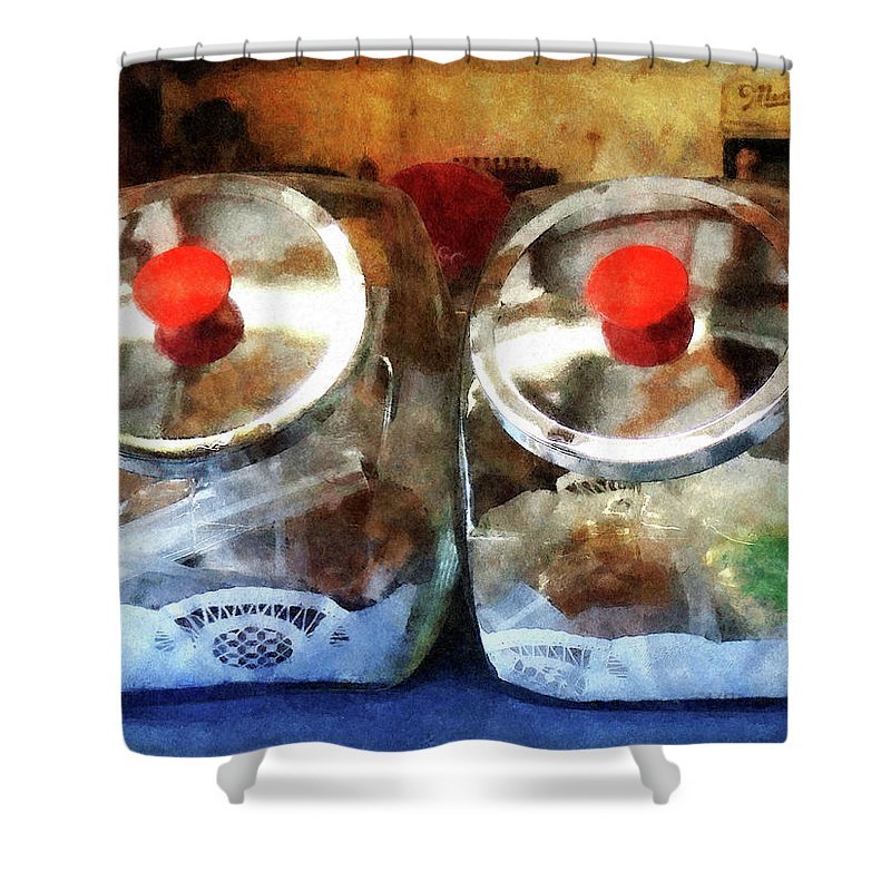 Cookie Jar Shower Curtain featuring the photograph Two Glass Cookie Jars by Susan Savad