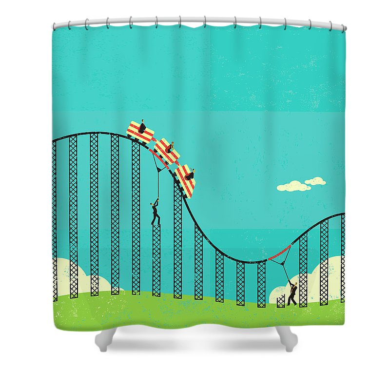 Concepts & Topics Shower Curtain featuring the digital art Two Men Supporting The Weight Of by Retrorocket
