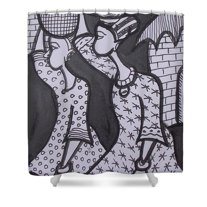 Marriage Load Shower Curtain featuring the painting Two Messenger Carry Marriage Load To The Groom House by Okunade Olubayo
