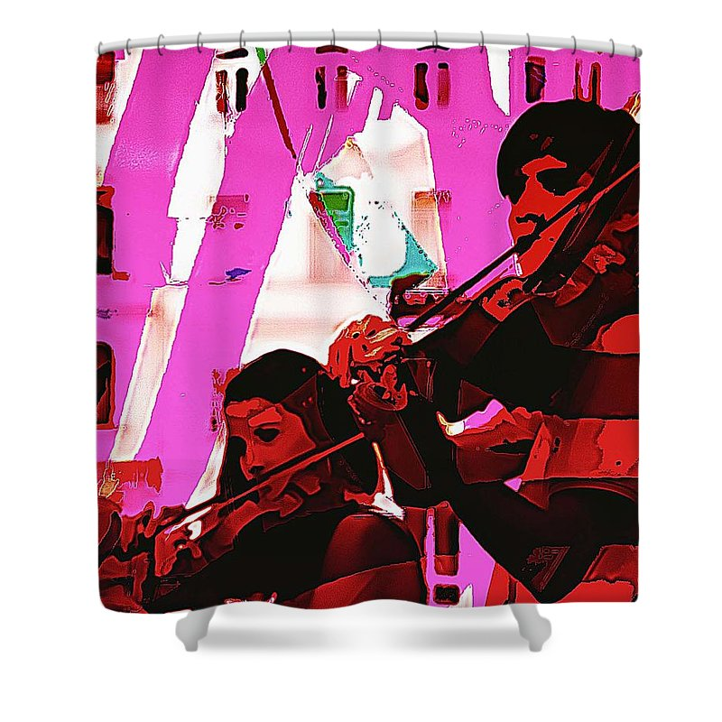Musicians Shower Curtain featuring the digital art Two Musicians by John Hesley