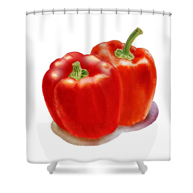 Pepper Shower Curtain featuring the painting Two Red Peppers by Irina Sztukowski