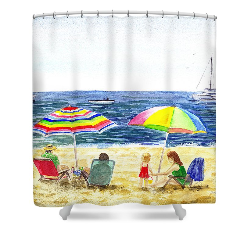 California Shower Curtain Featuring The Painting Two Umbrellas On Beach By Irina Sztukowski