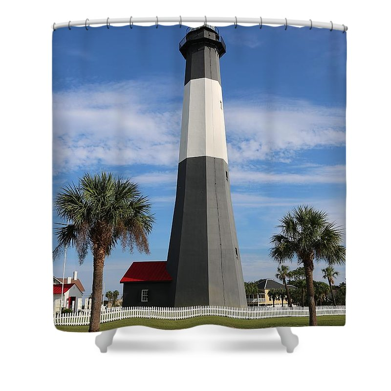 Georgia Shower Curtain featuring the photograph Tybee Island Lighthouse by Carol Groenen