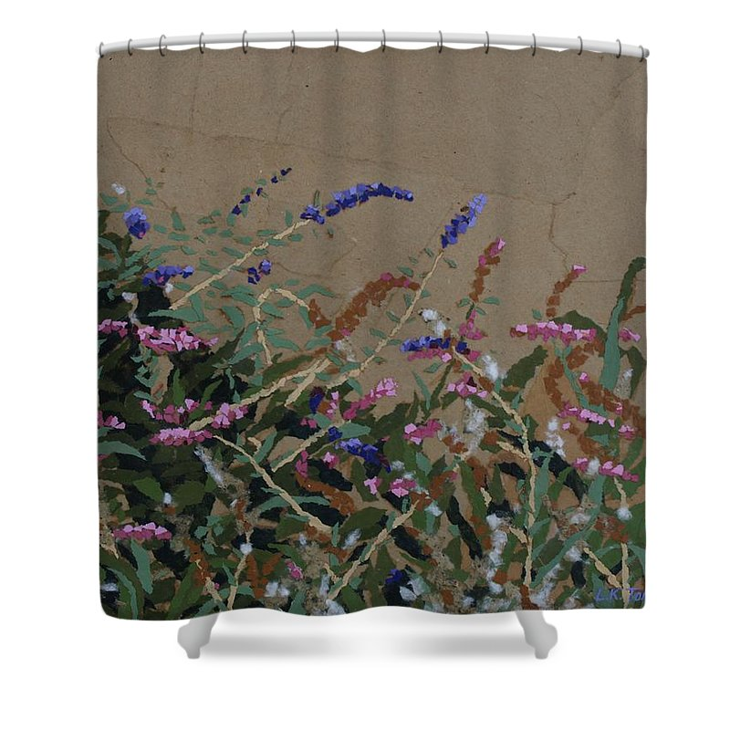 Flowering Butterfly Bush Shower Curtain featuring the painting Tyler by Leah Tomaino