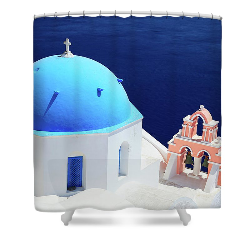 Greek Culture Shower Curtain featuring the photograph Typical Orthodox Greek Church In Oia by Nimu1956