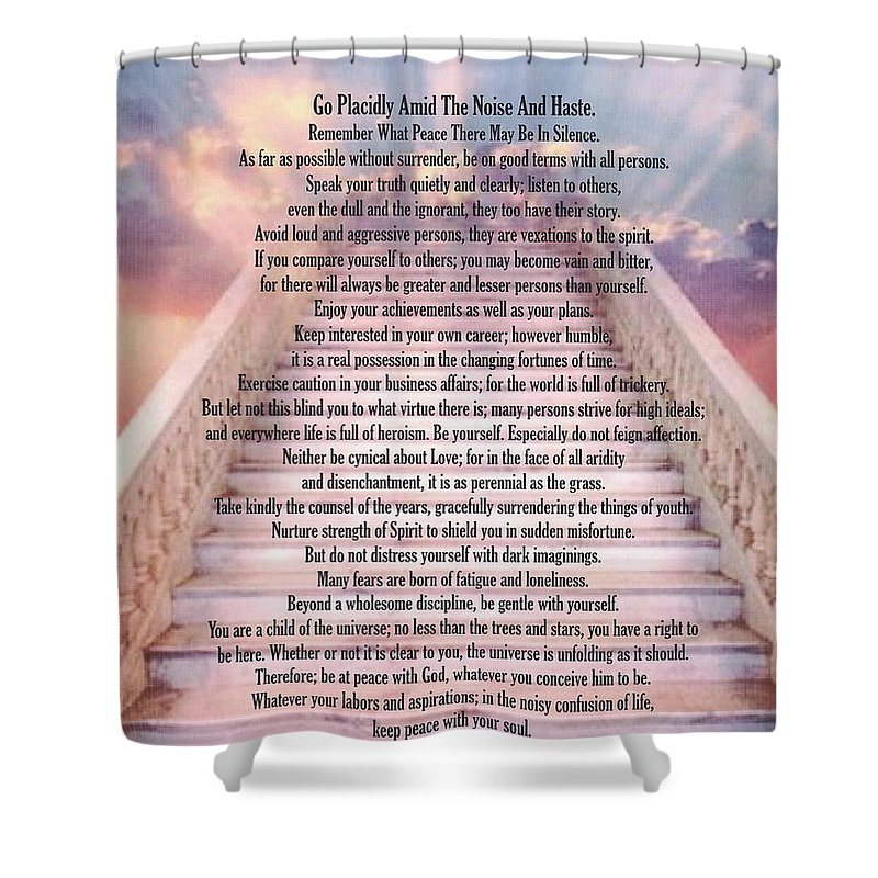 typography art desiderata poem on stairway to heaven shower curtain for sale by desiderata gallery. Black Bedroom Furniture Sets. Home Design Ideas
