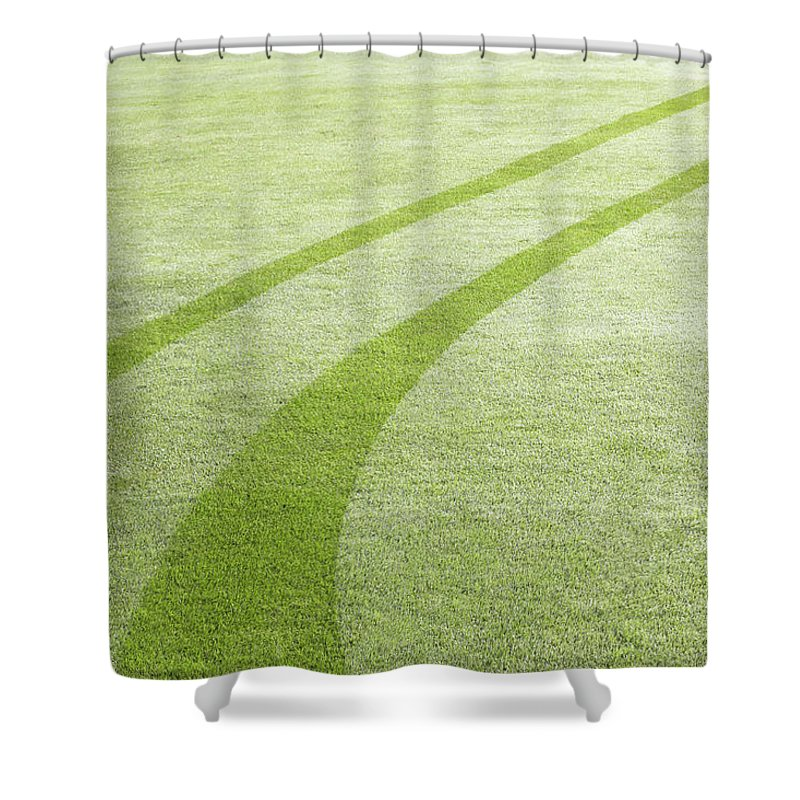 Curve Shower Curtain featuring the photograph Tyre Tracks In Dew by Ezra Bailey
