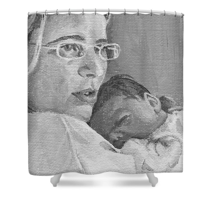 Mother Shower Curtain featuring the painting Tzurit And Mika by Tamir Barkan