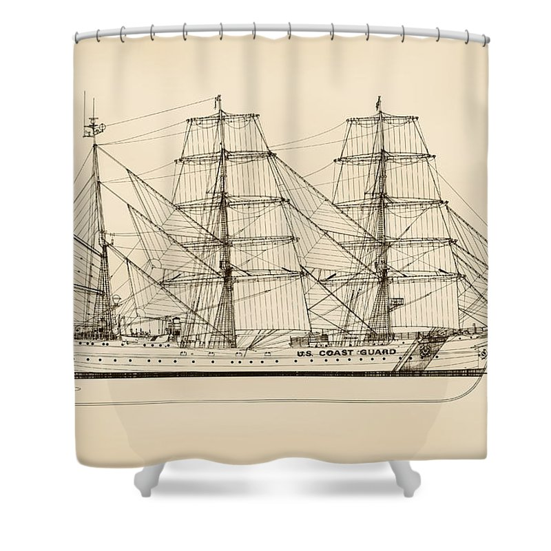 Uscg Shower Curtain featuring the drawing U. S. Coast Guard Cutter Eagle - Sepia by Jerry McElroy