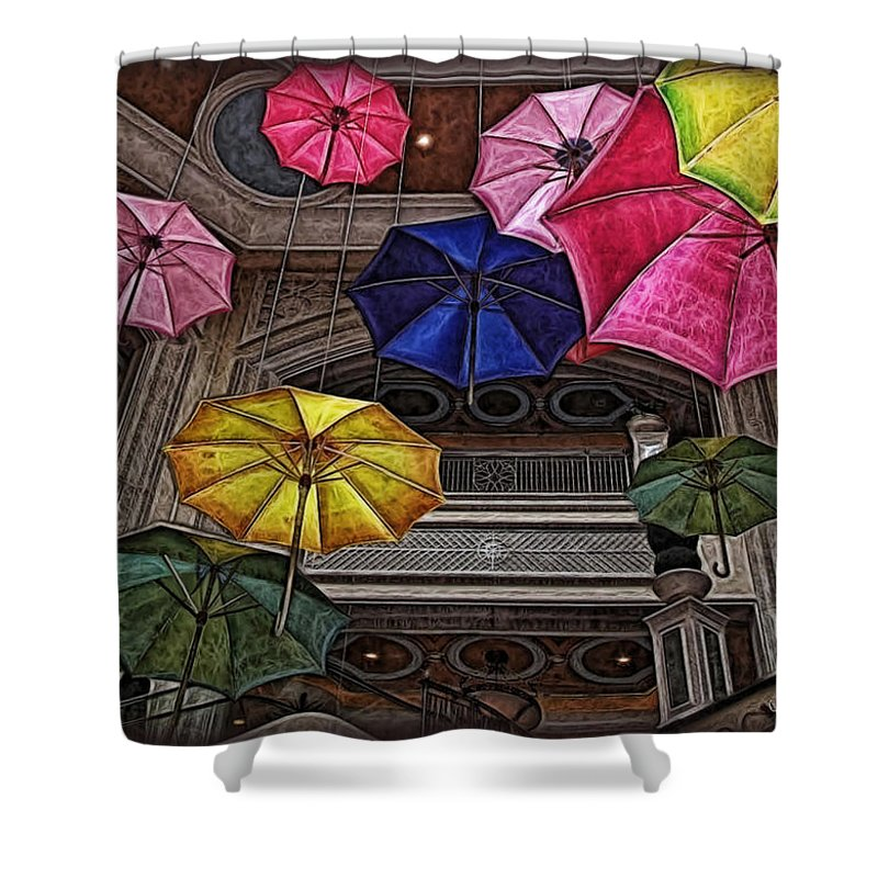 Umbrella Shower Curtain featuring the digital art Umbrella Fun by Joan Minchak