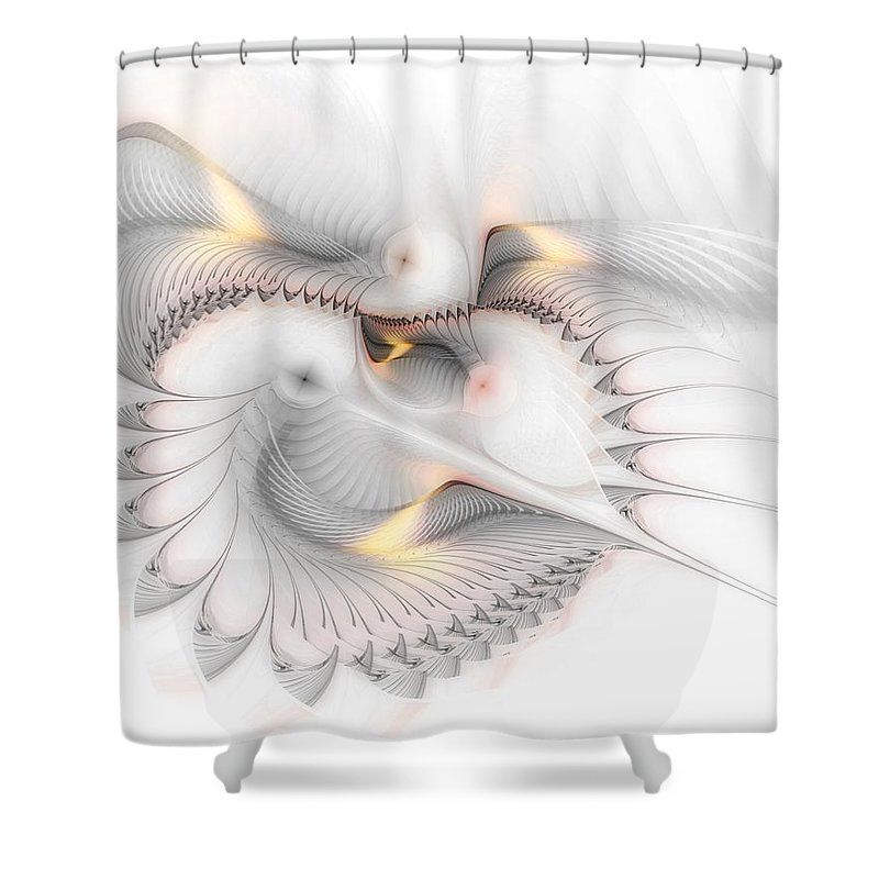 Abstract Shower Curtain featuring the digital art Unchained Melody by Casey Kotas