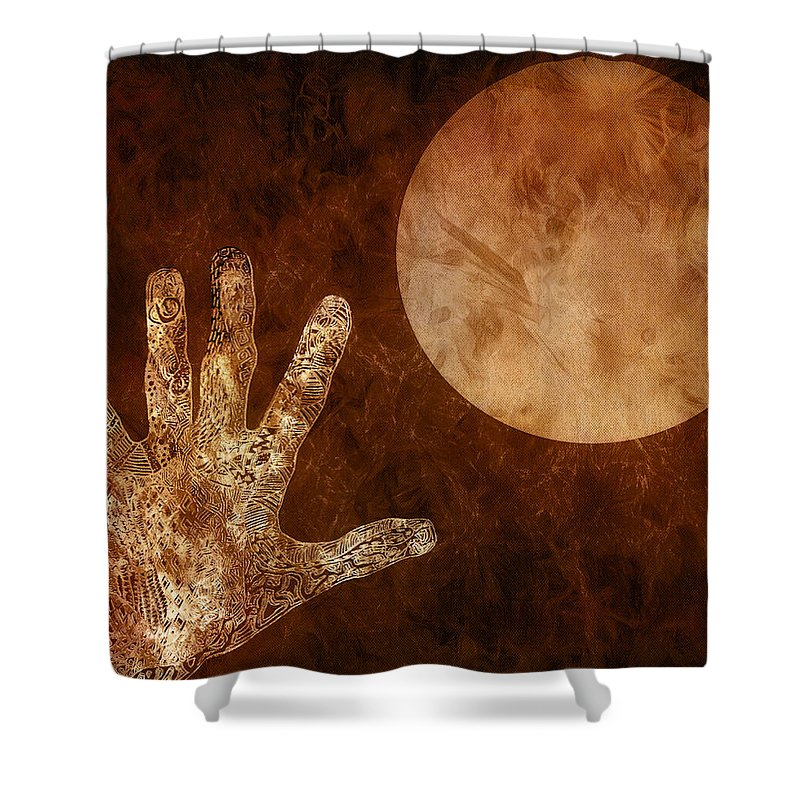 Abstract Shower Curtain featuring the mixed media Under A Copper Moon by Jo-Anne Gazo-McKim