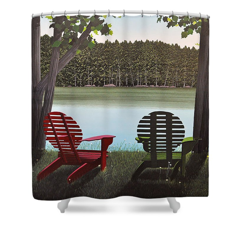 Landscapes Shower Curtain featuring the painting Under Muskoka Trees by Kenneth M Kirsch