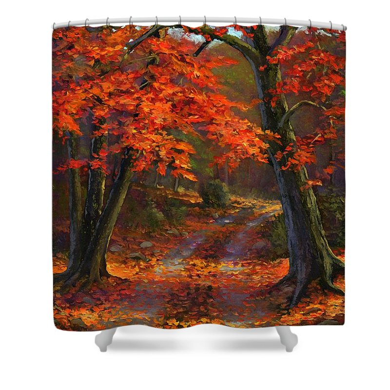 Autumn Shower Curtain featuring the painting Under The Blazing Canopy by Frank Wilson