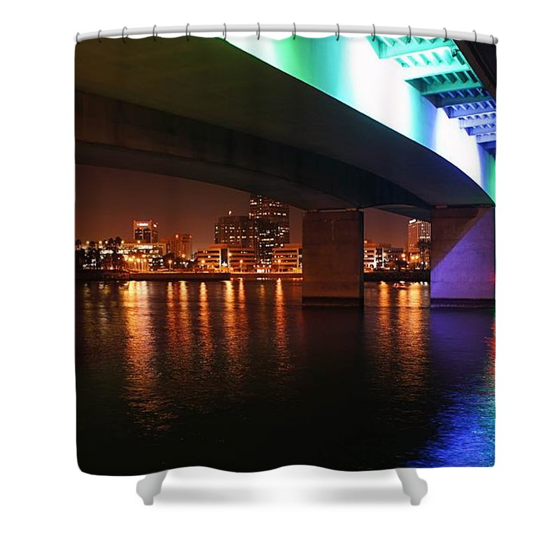 Long Beach Shower Curtain featuring the photograph Under The Bridge In Long Beach by Jenny Hudson