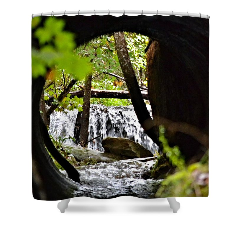 Waterfall Shower Curtain featuring the photograph Under The Road by Tara Potts