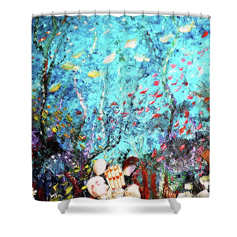 Underwater Painting Undersea Painting Shower Curtain featuring the painting Under The Sea by Karin Dawn Kelshall- Best