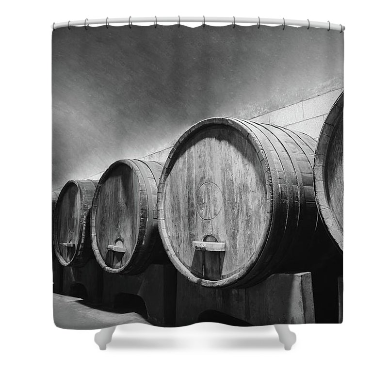 Alcohol Shower Curtain featuring the photograph Underground Wine Cellar With Wooden by Feellife