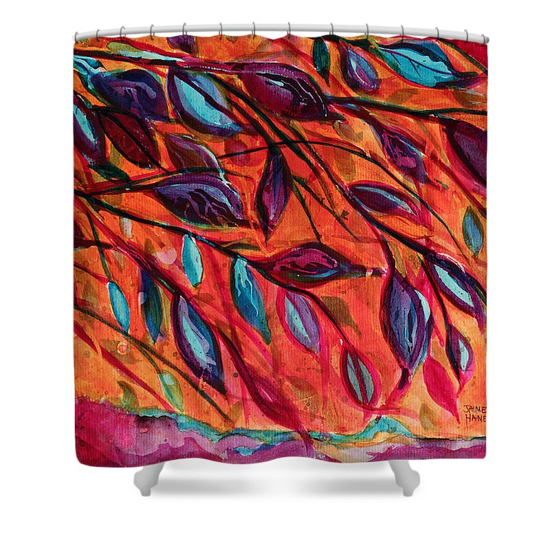 Tree Shower Curtain featuring the painting Underneath by Jaime Haney