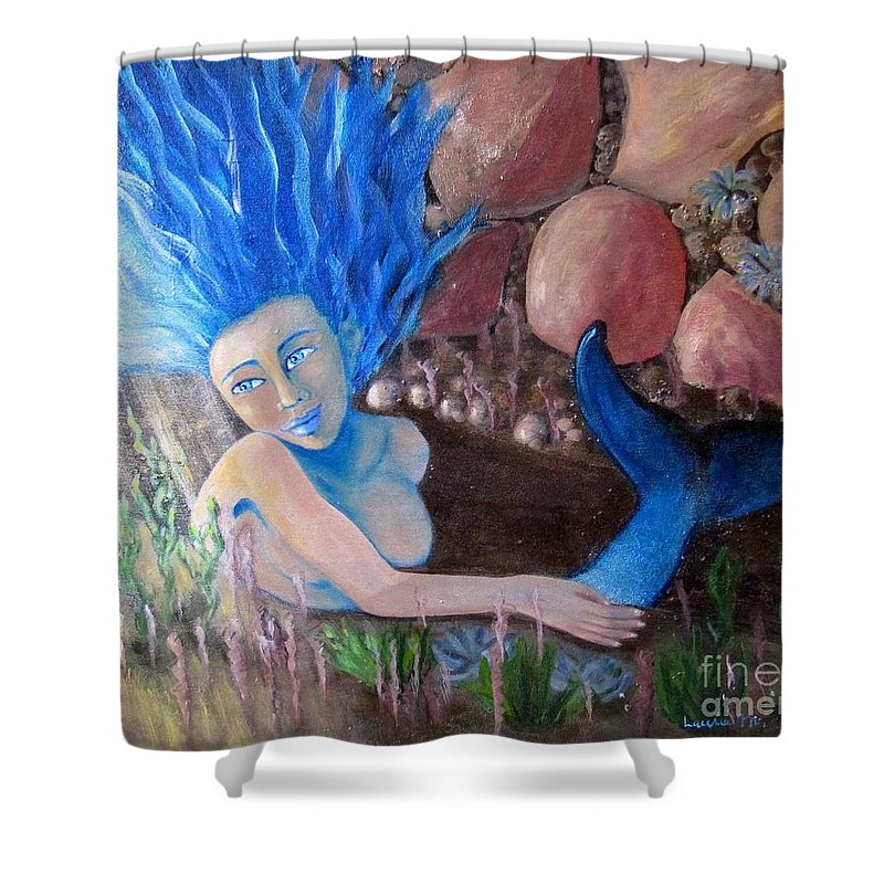 Mermaid Shower Curtain featuring the painting Underwater Wonder by Laurie Morgan