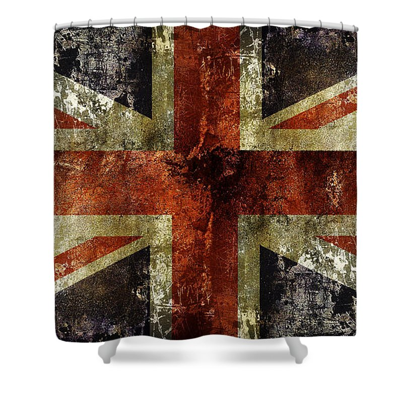 Union Jack Shower Curtain Featuring The Digital Art Battle Flag By Daniel Hagerman