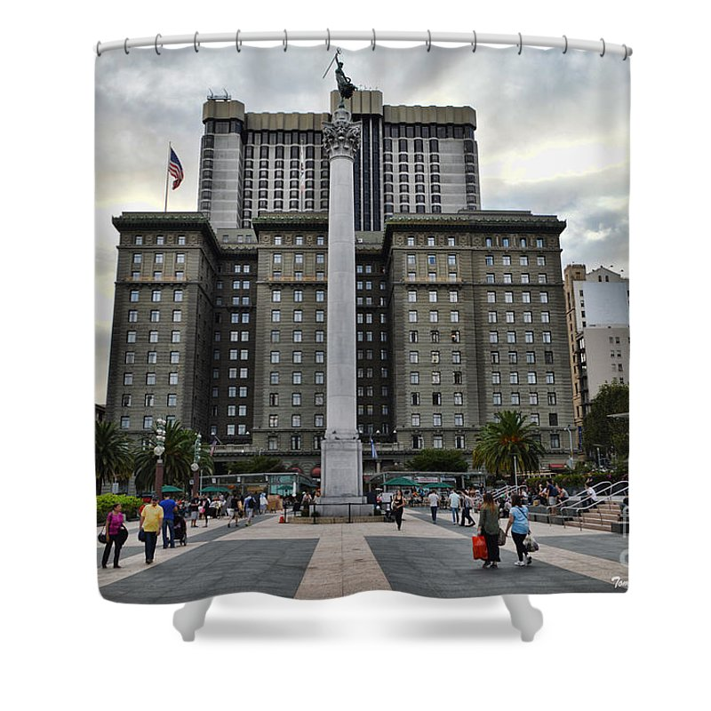 San Francisco Shower Curtain featuring the photograph Union Square Courtyard by Tommy Anderson