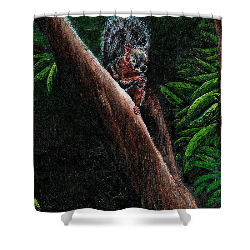 Squirrel Shower Curtain featuring the painting Union Squirrel by Stephanie Knight