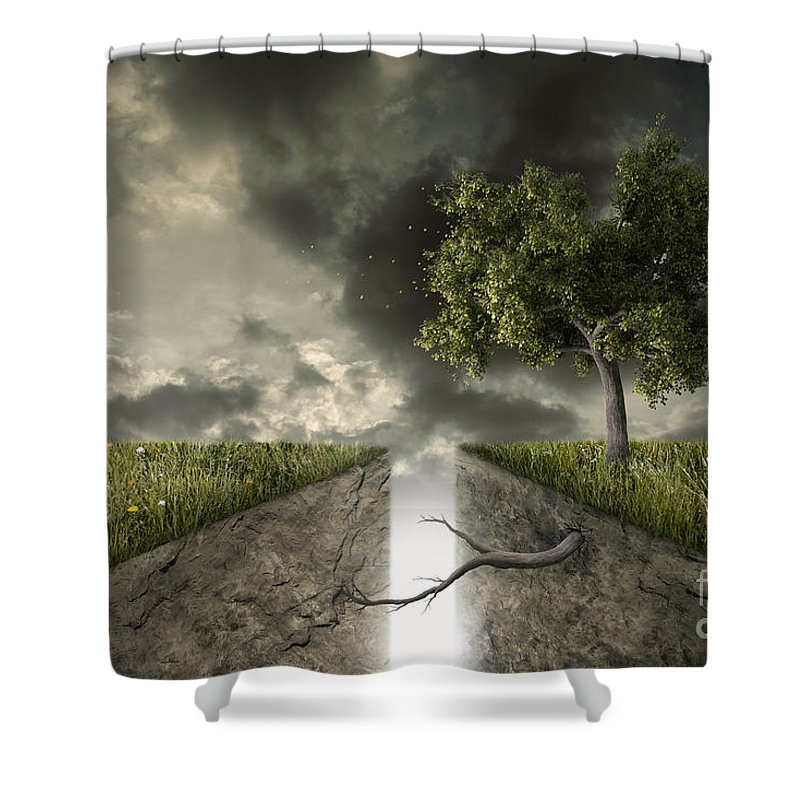 Fracture Shower Curtain featuring the photograph Unions And Divisions by Giordano Aita