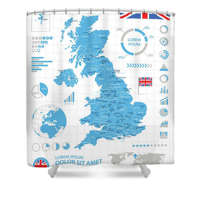 Globe Shower Curtain featuring the digital art United Kingdom - Infographic Map - by Pop jop