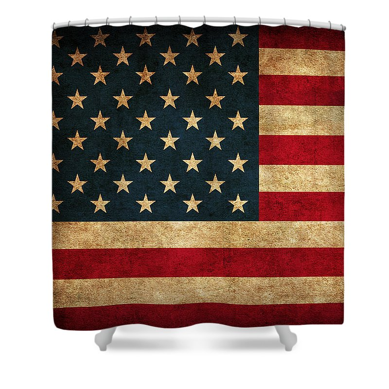 United States American Usa Flag Vintage Distressed Finish On Worn Canvas Shower Curtain featuring the mixed media United States American USA Flag Vintage Distressed Finish on Worn Canvas by Design Turnpike
