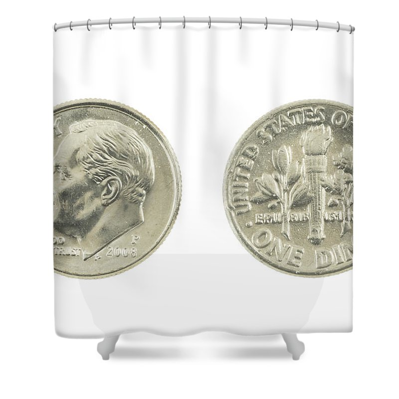 Dime Shower Curtain featuring the photograph United States Dime On White Background by Keith Webber Jr